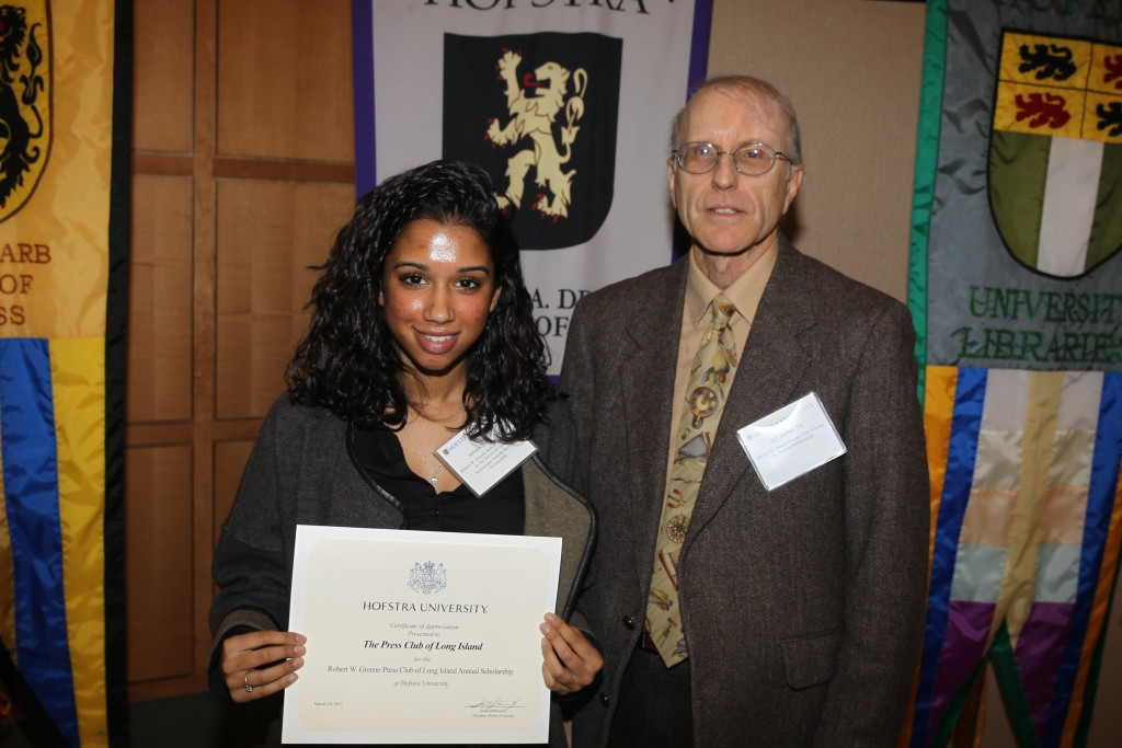 Amala Nath and PCLI Vice President Bill Bleyer. Credit Zack Lane/Hofstra University.